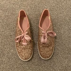 Kate Spade Rose Gold Glitter Lace-Up Sneakers